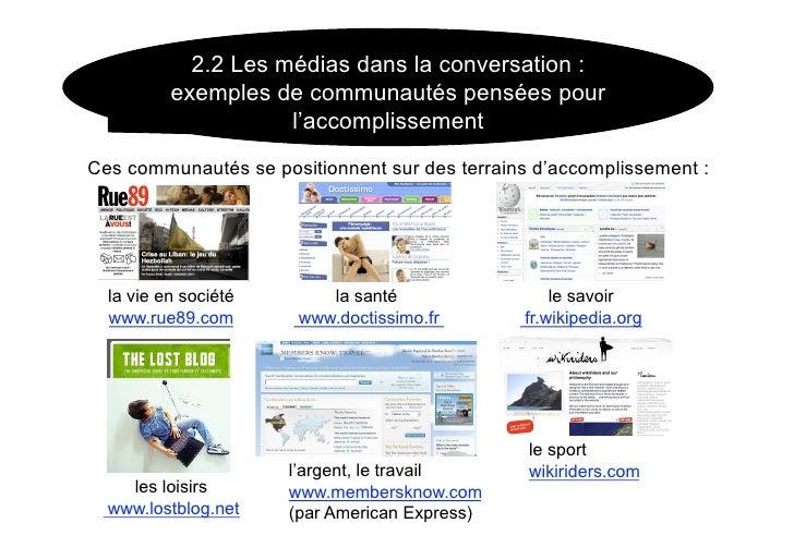 2.2 Les médias dans la conversation :           exemples de communautés pensées pour                      l'accomplissemen...
