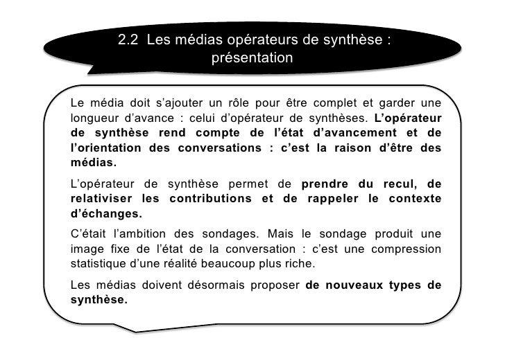 2.2 Les médias opérateurs de synthèse :                      présentation  Le média doit s'ajouter un rôle pour être compl...