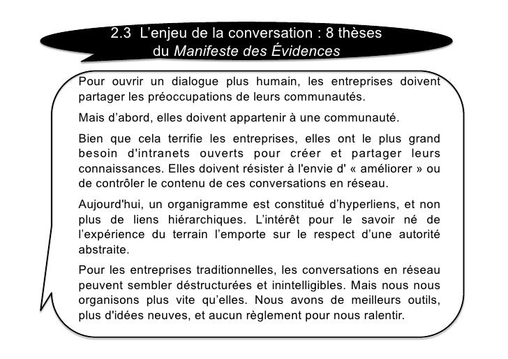 2.3 L'enjeu de la conversation : 8 thèses            du Manifeste des Évidences Pour ouvrir un dialogue plus humain, les e...