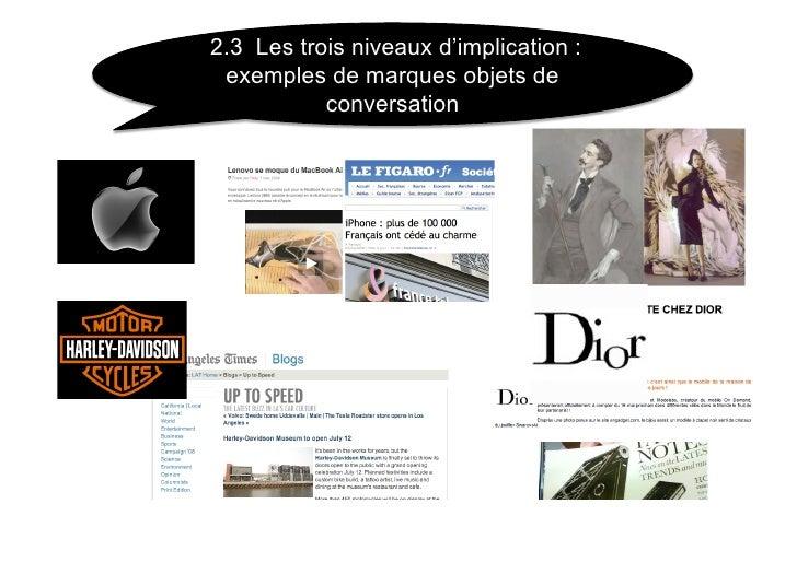 2.3 Les trois niveaux d'implication :  exemples de marques objets de            conversation