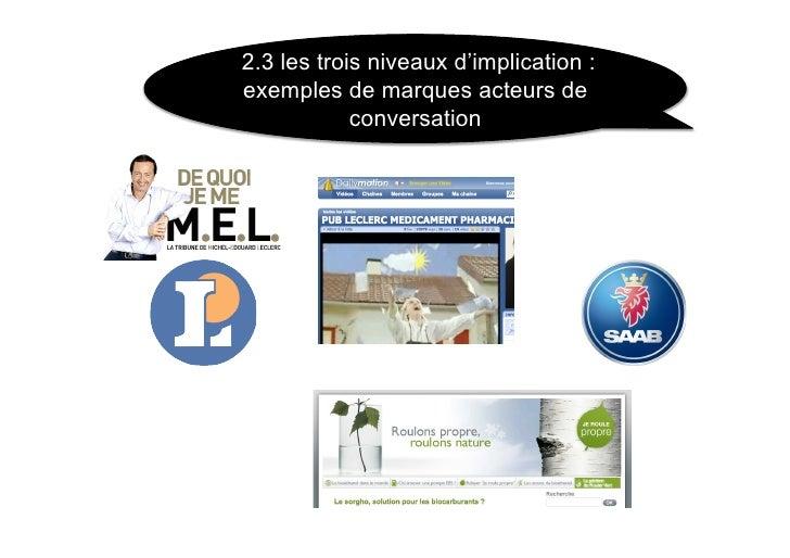 2.3 les trois niveaux d'implication : exemples de marques acteurs de             conversation