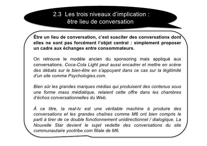 2.3 Les trois niveaux d'implication :               être lieu de conversation  Être un lieu de conversation, c'est suscite...