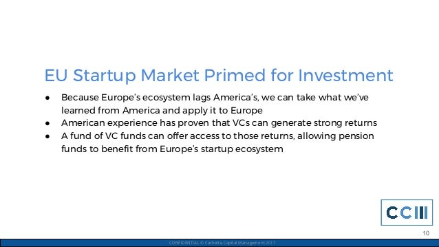 EU Startup Market Primed for Investment CONFIDENTIAL © Cachette Capital Management 2017 ● Because Europe's ecosystem lags ...