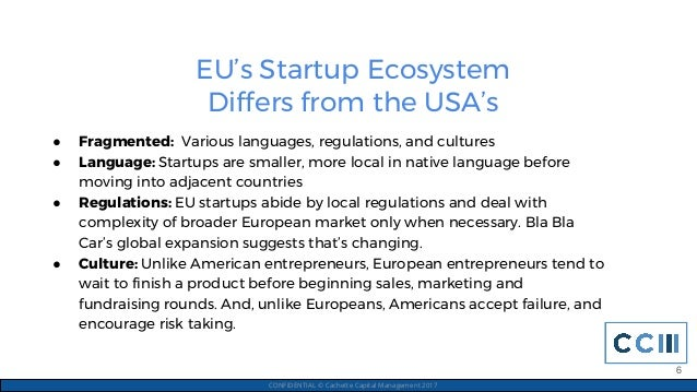 EU's Startup Ecosystem Differs from the USA's CONFIDENTIAL © Cachette Capital Management 2017 ● Fragmented: Various langua...