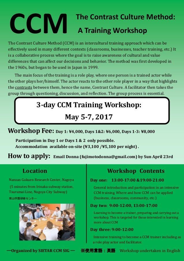 The Contrast Culture Method: A Training WorkshopCCMThe Contrast Culture Method (CCM) is an intercultural training approach...