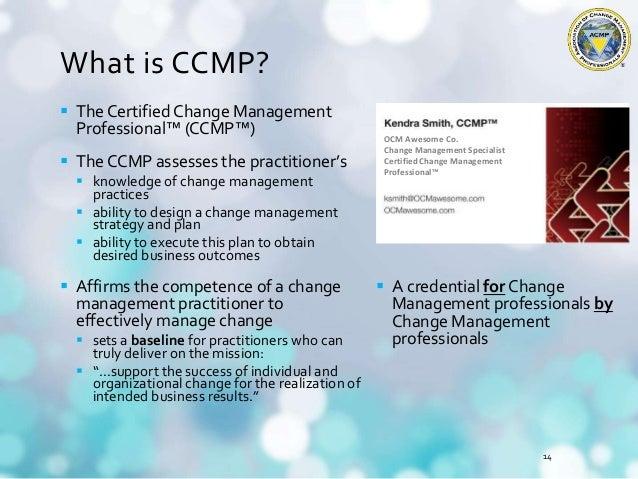 Certified Change Management Professional CCMP Webinar 2015 Nov 4