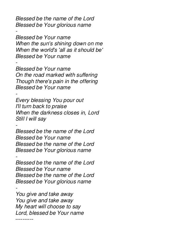 Blessed Be your name Piano Sheet Music free Blessed Be Your Name ...