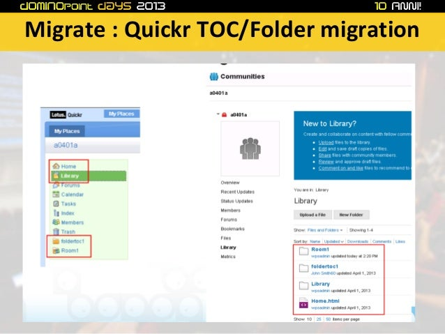 Quickr migration in IBM Connections CCM