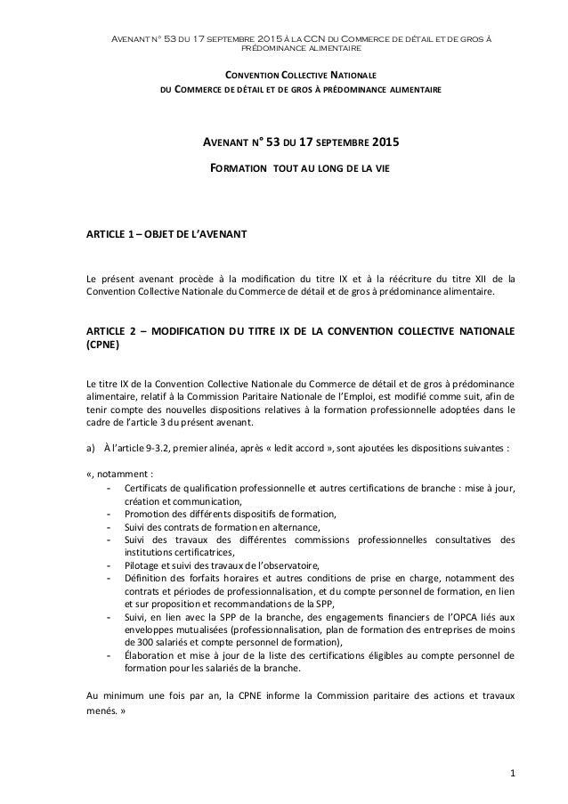 Avenant n° 53 du 17 septembre 2015 à la CCN du Commerce de détail et de gros à prédominance alimentaire CONVENTION COLLECT...
