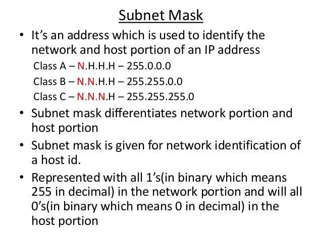 ip address and subnet mask pdf