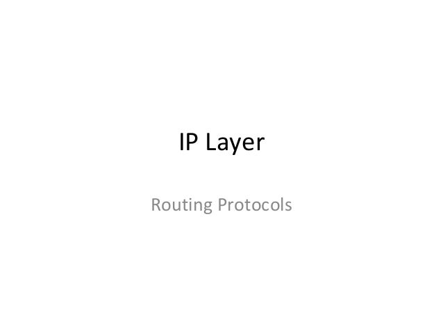 IP Layer Routing Protocols