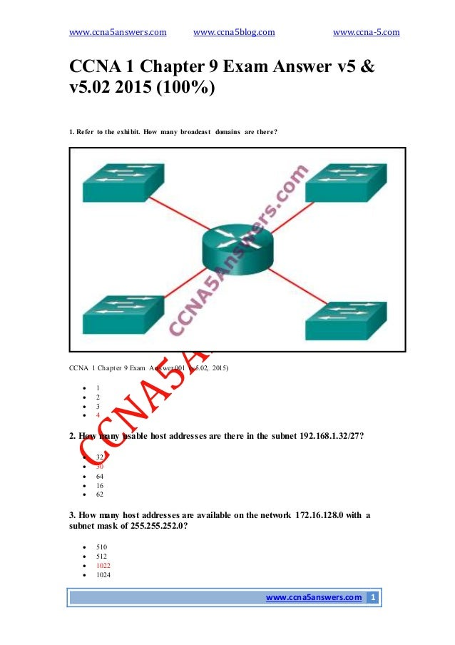 ccna4 ch 1 Re: ccna and ccna 1, 2, 3 and 4 seifesilasse apr 26, 2016 1:31 am ( in response to matt bowler ) please activate the examination of ccna 1 chapter 1,2,3,4,5,611 and i am ready to final exam.