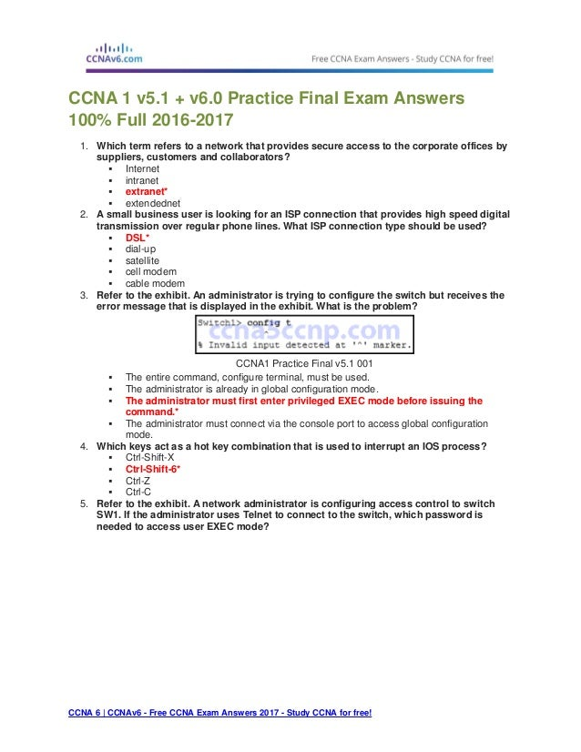 ccna free exam questions and answers