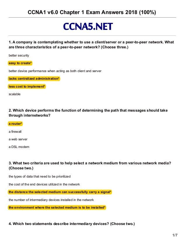 Ccna 1 V6 0 Chapter 1 Exam Answers 2018