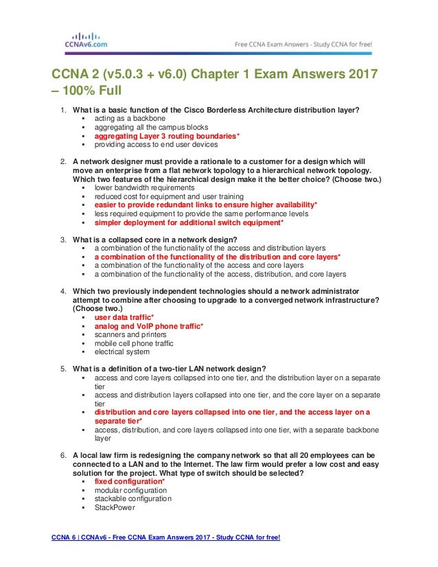 Ccna 2 (v5 0 3 + v6 0) chapter 1 exam answers 2017 – 100% full