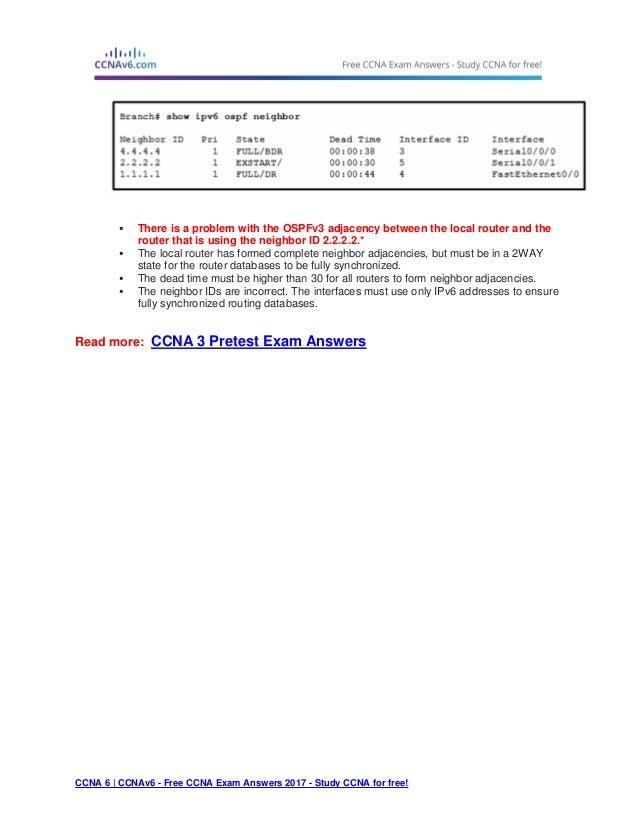 Ccna 3 pretest exam answers 2017 (v5.0.3 + v6.0) – full 100%