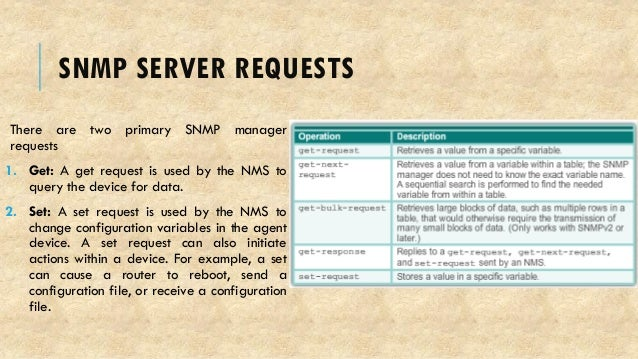 SNMP SERVER REQUESTS There are two primary SNMP manager requests 1. Get: A get request is used by the NMS to query the dev...