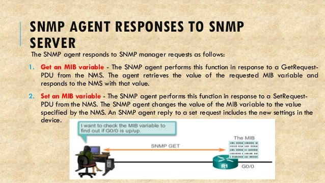 SNMP AGENT RESPONSES TO SNMP SERVER The SNMP agent responds to SNMP manager requests as follows: 1. Get an MIB variable - ...