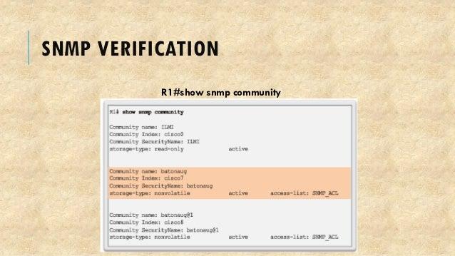 SNMP VERIFICATION R1#show snmp community