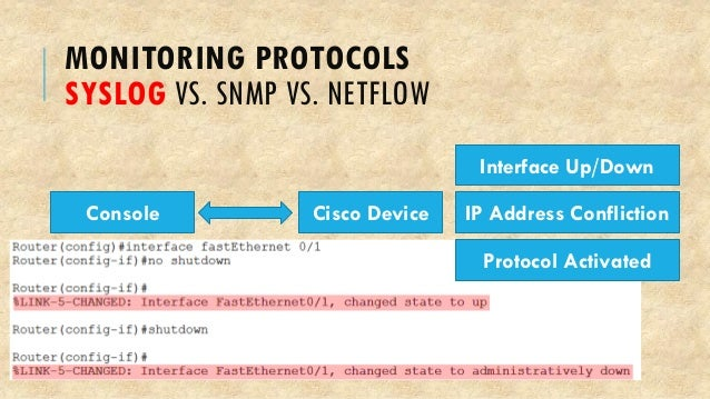 MONITORING PROTOCOLS SYSLOG VS. SNMP VS. NETFLOW Cisco Device Interface Up/Down IP Address Confliction Protocol Activated ...