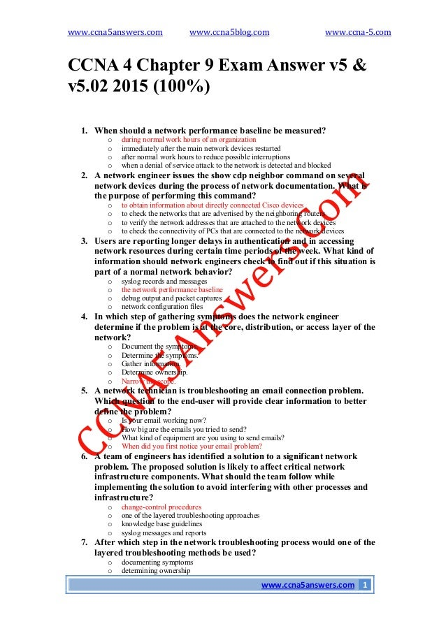 chapter 5 exam Ccna 1 v502 + v51 + v60 chapter 5 exam answers 100% updated full questions latest 2017 - 2018 introduction to networks free download pdf file.