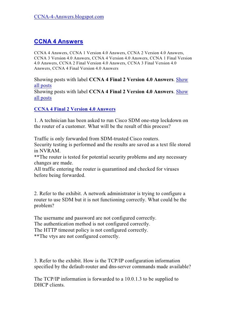 ccna 4 final 2 version 4 0 answers rh slideshare net
