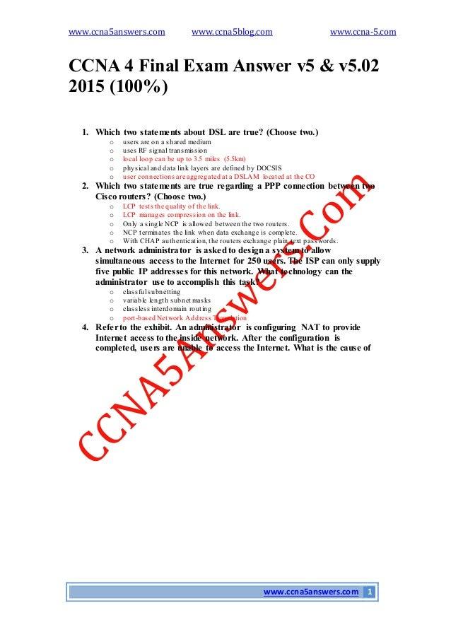Cisco exam 4 answer v5 0