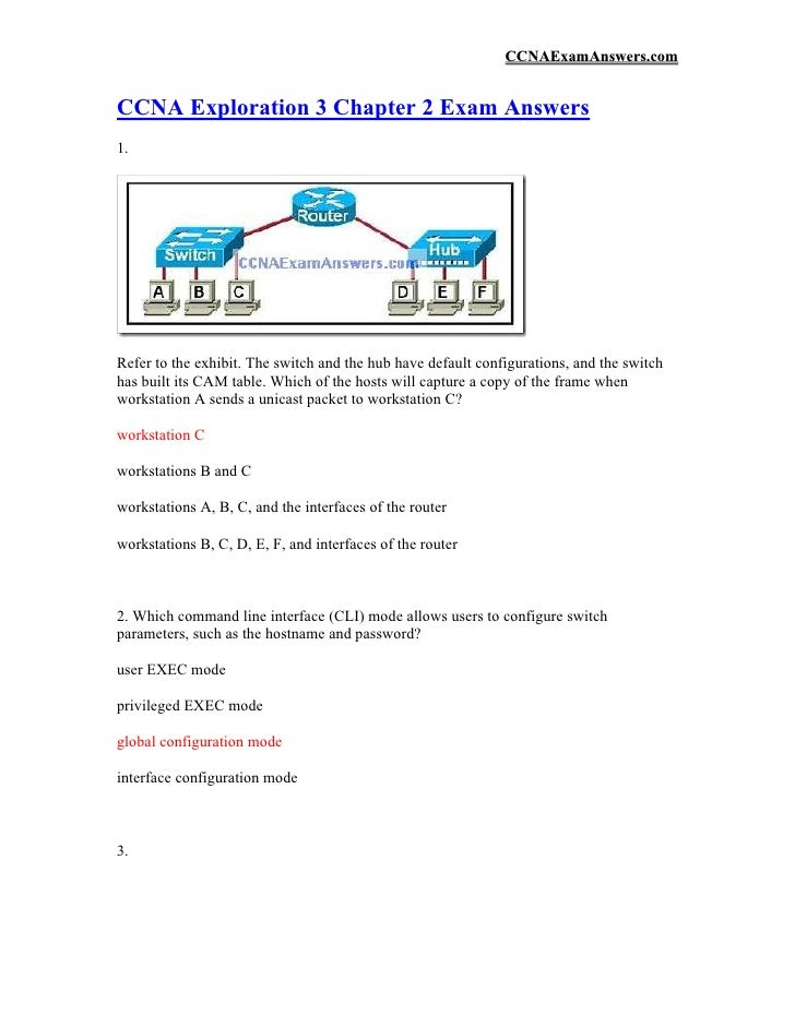 CCNAExamAnswers.com   CCNA Exploration 3 Chapter 2 Exam Answers 1.     Refer to the exhibit. The switch and the hub have d...