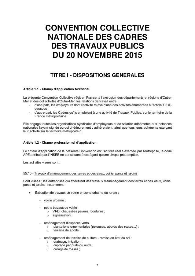 idcc 2409 ccn cadres travaux publics 20 nov 2015