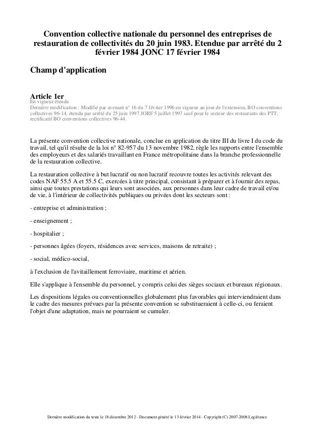 Ccn de la restauration collective for Restauration collective offre emploi