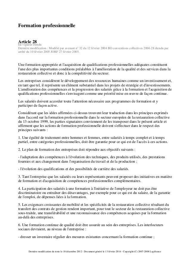 Ccn de la restauration collective for Formation restauration collective