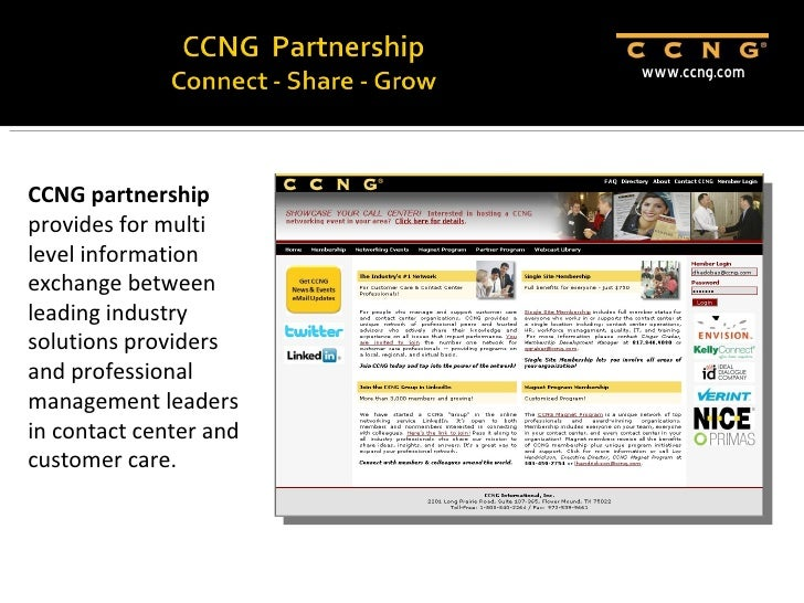 CCNG  PartnershipConnect - Share - Grow <br />www.ccng.com<br />David Hadobas<br />CCNG President and CEO<br />