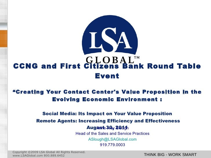 """CCNG and First Citizens Bank Round Table Event """"Creating Your Contact Center's Value Proposition in the Evolving Economic ..."""