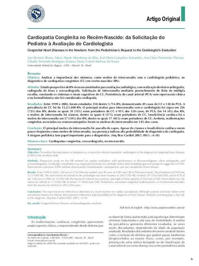 Artigo Original Cardiopatia Congênita no Recém-Nascido: da Solicitação do Pediatra à Avaliação do Cardiologista Congenital...