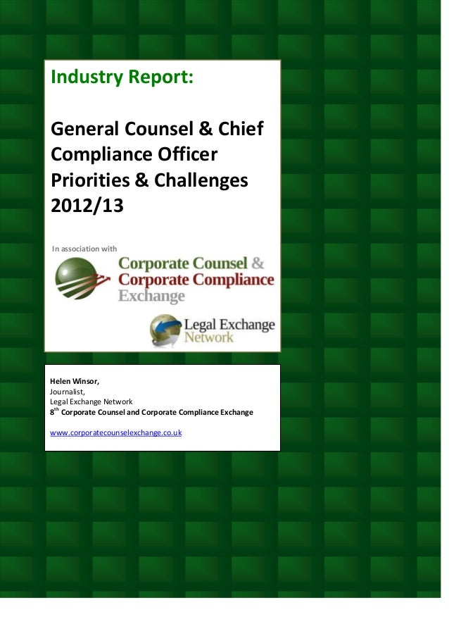 General counsel chief compliance officer priorities challenges 20 - Associate compliance officer ...