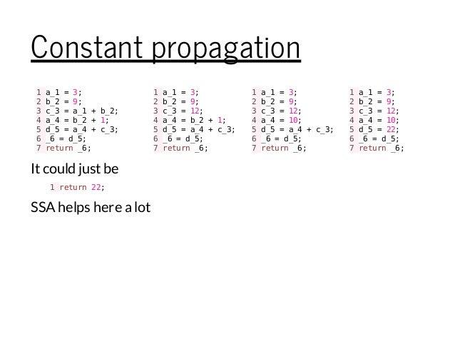 Constant propagation 1a_1=3; 2b_2=9; 3c_3=a_1+b_2; 4a_4=b_2+1; 5d_5=a_4+c_3; 6_6=d_5; 7return_6; 1a_1=3; 2b_2=9; 3c_3=12; ...