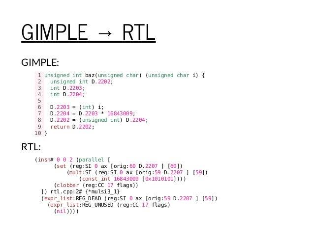 GIMPLE → RTL GIMPLE: 1unsignedintbaz(unsignedchar)(unsignedchari){ 2 unsignedintD.2202; 3 intD.2203; 4 intD.2204; 5 6 D.22...