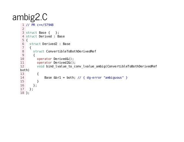 ambig2.C 1//PRc++/57948 2 3structBase{ }; 4structDerived:Base 5{ 6 structDerived2:Base 7 { 8 structConvertibleToBothDerive...
