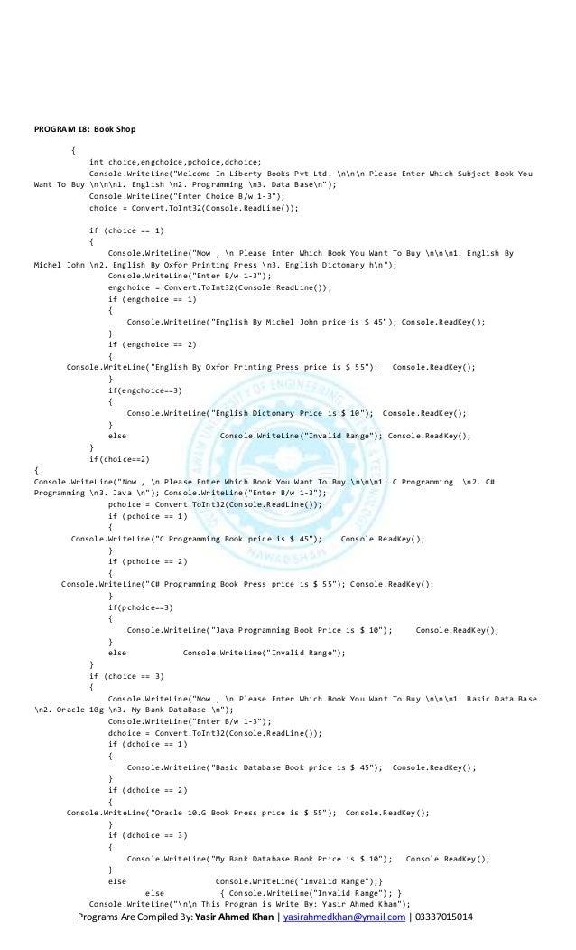 C# console programms