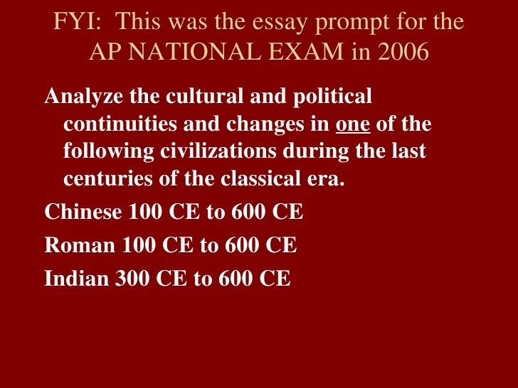 change and continuity essay rome 100 600 Change and continuity over time essay sample china 100 c e to 600 c e rome 100 c e to 600 c e continuity and change over time.