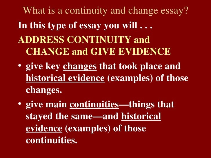 africa change over time essay Continuity and change over time for unit 2 but also the textbook to get evidence to use in your papers sub-saharan africa:changes.