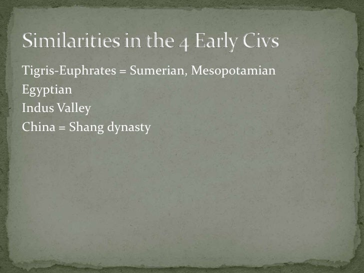 Similarities in the 4 Early Civs<br />Tigris-Euphrates = Sumerian, Mesopotamian<br />Egyptian<br />Indus Valley<br />China...