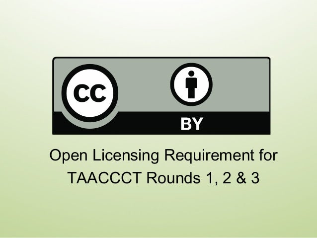Open Licensing Requirement for TAACCCT Rounds 1, 2 & 3