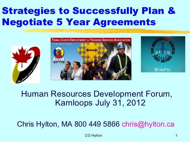 Strategies to Successfully Plan &Negotiate 5 Year Agreements   Human Resources Development Forum,          Kamloops July 3...