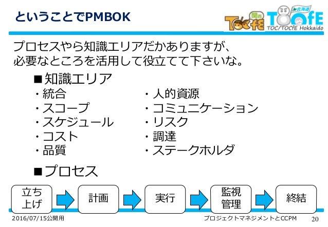 202016/07/15公開用 プロジェクトマネジメントとCCPM ということでPMBOK プロセスやら知識エリアだかありますが、 必要なところを活用して役立てて下さいな。 ■知識エリア ・統合 ・スコープ ・スケジュール ・コスト ・品質 ・...