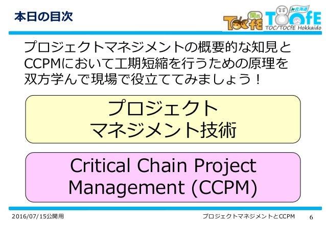 62016/07/15公開用 プロジェクトマネジメントとCCPM 本日の目次 プロジェクトマネジメントの概要的な知見と CCPMにおいて工期短縮を行うための原理を 双方学んで現場で役立ててみましょう! プロジェクト マネジメント技術 Criti...
