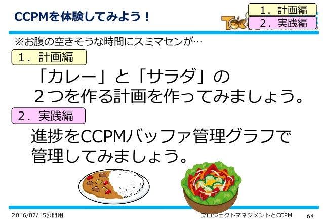 682016/07/15公開用 プロジェクトマネジメントとCCPM CCPMを体験してみよう! ※お腹の空きそうな時間にスミマセンが… 「カレー」と「サラダ」の 2つを作る計画を作ってみましょう。 進捗をCCPMバッファ管理グラフで 管理してみ...