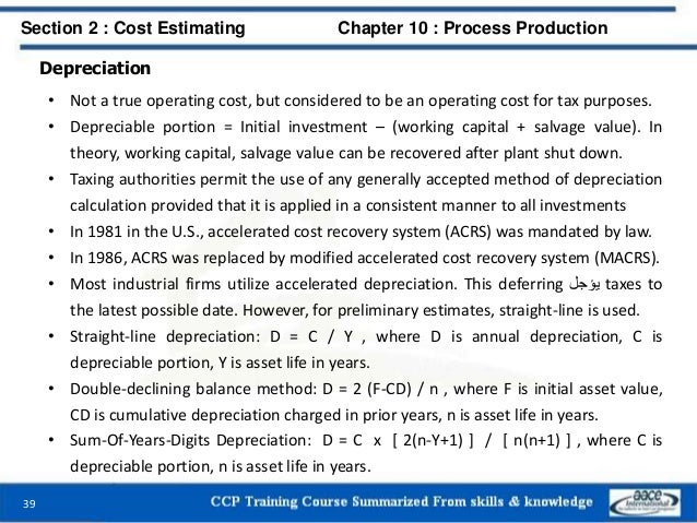 Depreciation • Not a true operating cost, but considered to be an operating cost for tax purposes. • Depreciable portion =...