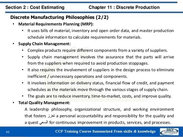 Discrete Manufacturing Philosophies (2/2) • Material Requirements Planning (MRP): • It uses bills of material, inventory a...