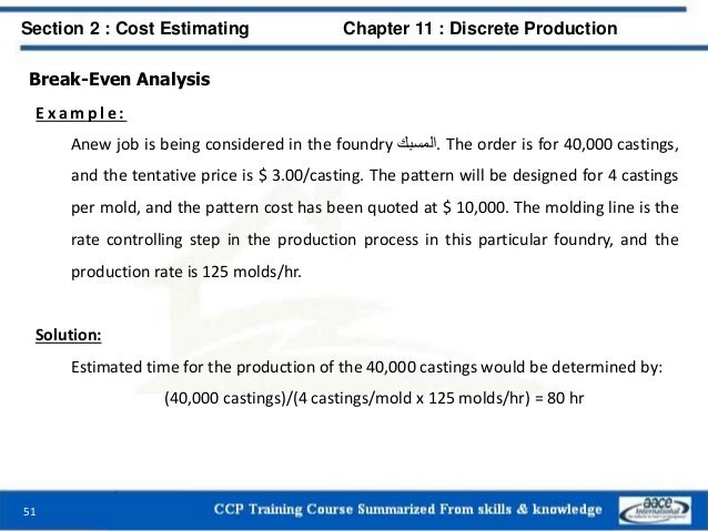 Break-Even Analysis E x a m p l e : Anew job is being considered in the foundry .المسبك The order is for 40,000 castings...